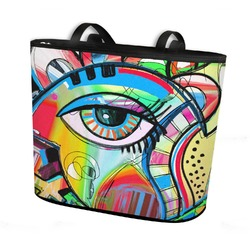 Abstract Eye Painting Bucket Tote w/ Genuine Leather Trim