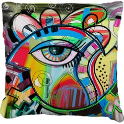 Abstract Eye Painting Faux-Linen Throw Pillow