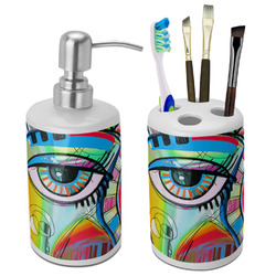 Abstract Eye Painting Ceramic Bathroom Accessories Set