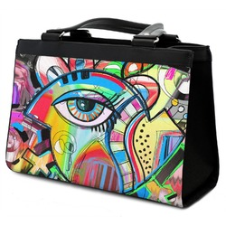Abstract Eye Painting Classic Tote Purse w/ Leather Trim