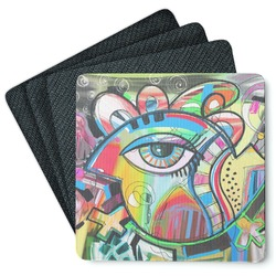 Abstract Eye Painting 4 Square Coasters - Rubber Backed