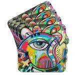 Abstract Eye Painting Cork Coaster - Set of 4