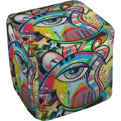 """Abstract Eye Painting Cube Pouf Ottoman - 18"""""""