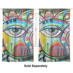 "Abstract Eye Painting Curtains - 20""x84"" Panels - Lined (2 Panels Per Set)"