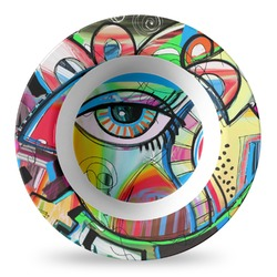 Abstract Eye Painting Plastic Bowl - Microwave Safe - Composite Polymer