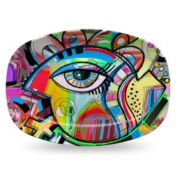 Abstract Eye Painting Plastic Platter - Microwave & Oven Safe Composite Polymer