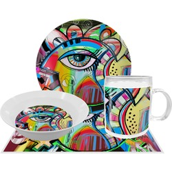 Abstract Eye Painting Dinner Set - 4 Pc