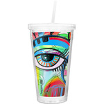 Abstract Eye Painting Double Wall Tumbler with Straw