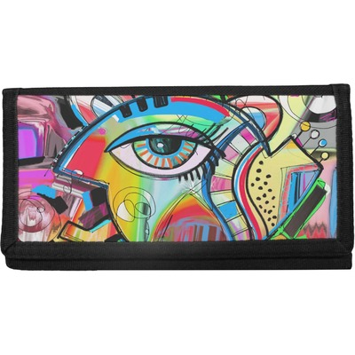 Abstract Eye Painting Canvas Checkbook Cover