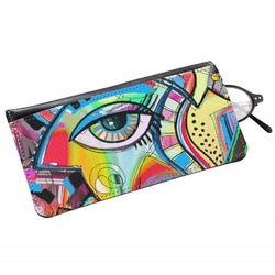 Abstract Eye Painting Genuine Leather Eyeglass Case