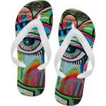 Abstract Eye Painting Flip Flops