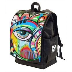 Abstract Eye Painting Backpack w/ Front Flap
