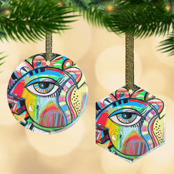 Abstract Eye Painting Flat Glass Ornament