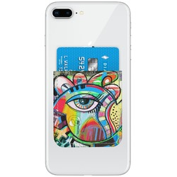 Abstract Eye Painting Genuine Leather Adhesive Phone Wallet