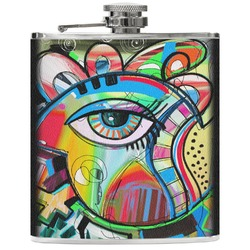 Abstract Eye Painting Genuine Leather Flask