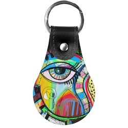 Abstract Eye Painting Genuine Leather  Keychain