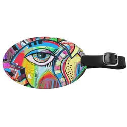 Abstract Eye Painting Genuine Leather Oval Luggage Tag
