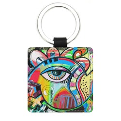 Abstract Eye Painting Genuine Leather Rectangular Keychain