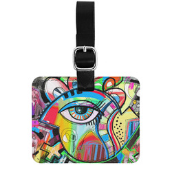 Abstract Eye Painting Genuine Leather Luggage Tag