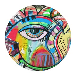 Abstract Eye Painting Round Desk Weight - Genuine Leather
