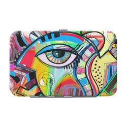 Abstract Eye Painting Genuine Leather Small Framed Wallet