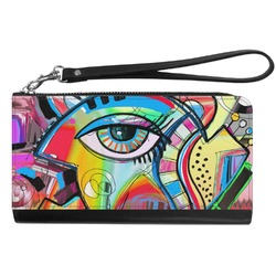 Abstract Eye Painting Genuine Leather Smartphone Wrist Wallet
