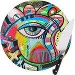 Abstract Eye Painting Round Glass Cutting Board