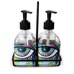 Abstract Eye Painting Soap & Lotion Dispenser Set (Glass)