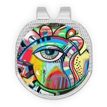 Abstract Eye Painting Golf Ball Marker - Hat Clip - Silver