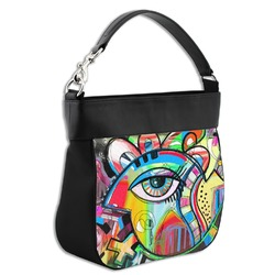 Abstract Eye Painting Hobo Purse w/ Genuine Leather Trim