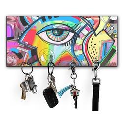 Abstract Eye Painting Key Hanger w/ 4 Hooks