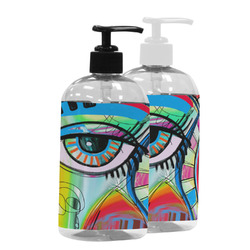 Abstract Eye Painting Plastic Soap / Lotion Dispenser