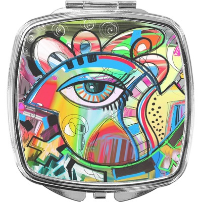 Abstract Eye Painting Compact Makeup Mirror