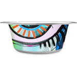 Abstract Eye Painting Stainless Steel Dog Bowl