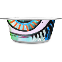 Abstract Eye Painting Stainless Steel Pet Bowl