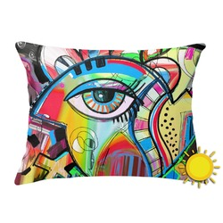 Abstract Eye Painting Outdoor Throw Pillow (Rectangular)