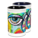 Abstract Eye Painting Ceramic Pencil Holder - Large