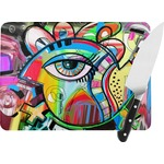 Abstract Eye Painting Rectangular Glass Cutting Board