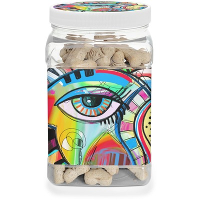 Abstract Eye Painting Dog Treat Jar