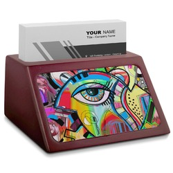 Abstract Eye Painting Red Mahogany Business Card Holder