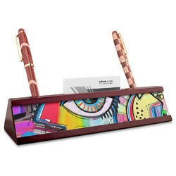 Abstract Eye Painting Red Mahogany Nameplate with Business Card Holder