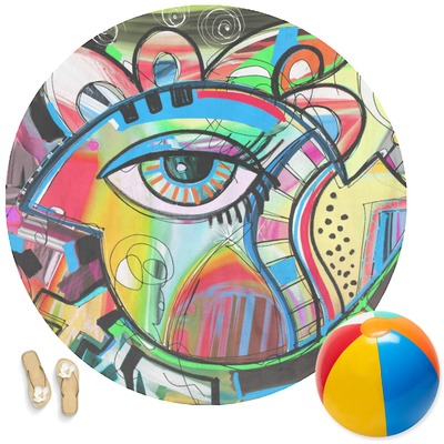 Abstract Eye Painting Round Beach Towel