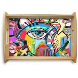 Abstract Eye Painting Natural Wooden Tray