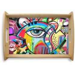 Abstract Eye Painting Natural Wooden Tray