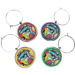 Abstract Eye Painting Wine Charms (Set of 4)