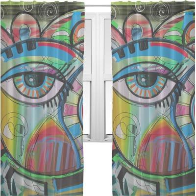 Abstract eye painting sheer curtains youcustomizeit for Painting sheer curtains