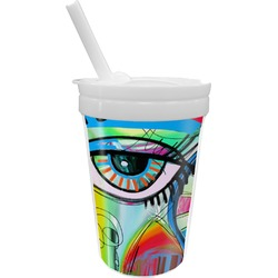 Abstract Eye Painting Sippy Cup with Straw
