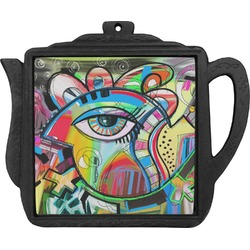 Abstract Eye Painting Teapot Trivet