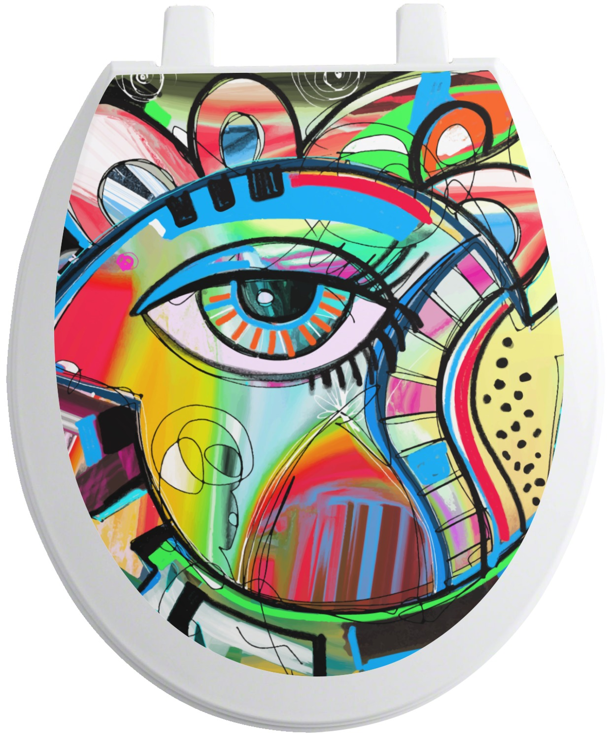 abstract eye painting toilet seat decal round. Black Bedroom Furniture Sets. Home Design Ideas