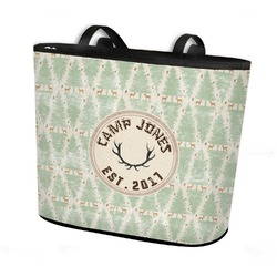 Deer Bucket Tote w/ Genuine Leather Trim (Personalized)